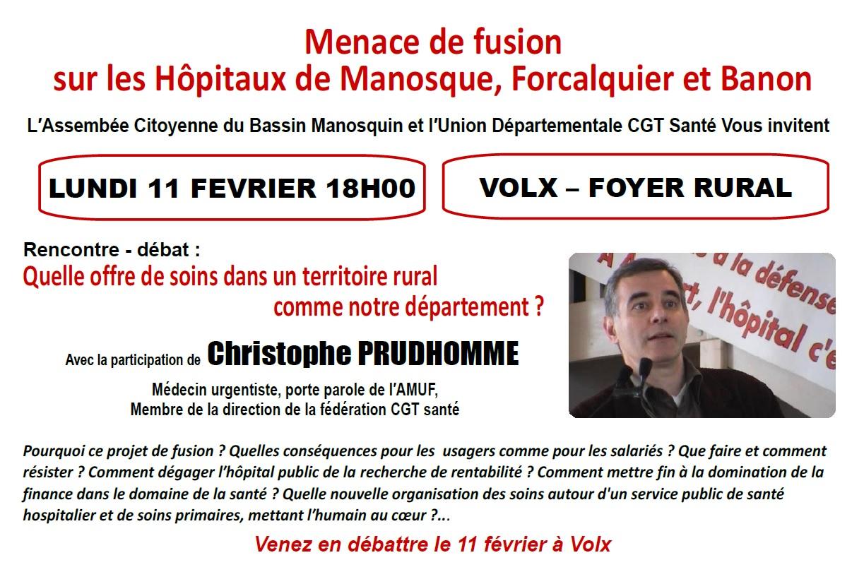 Débat public Christophe Prudhomme fusion hôpital
