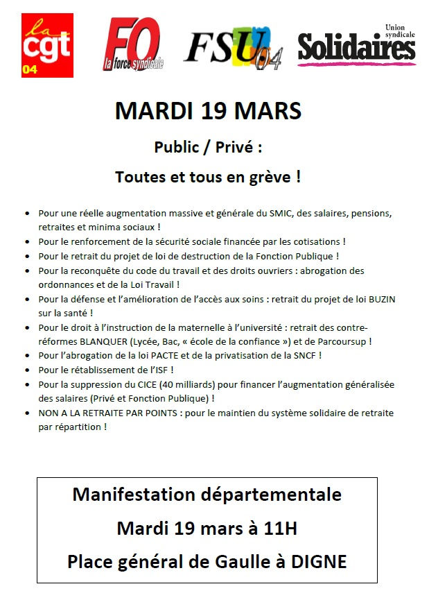 Manif du 19 mars à Digne