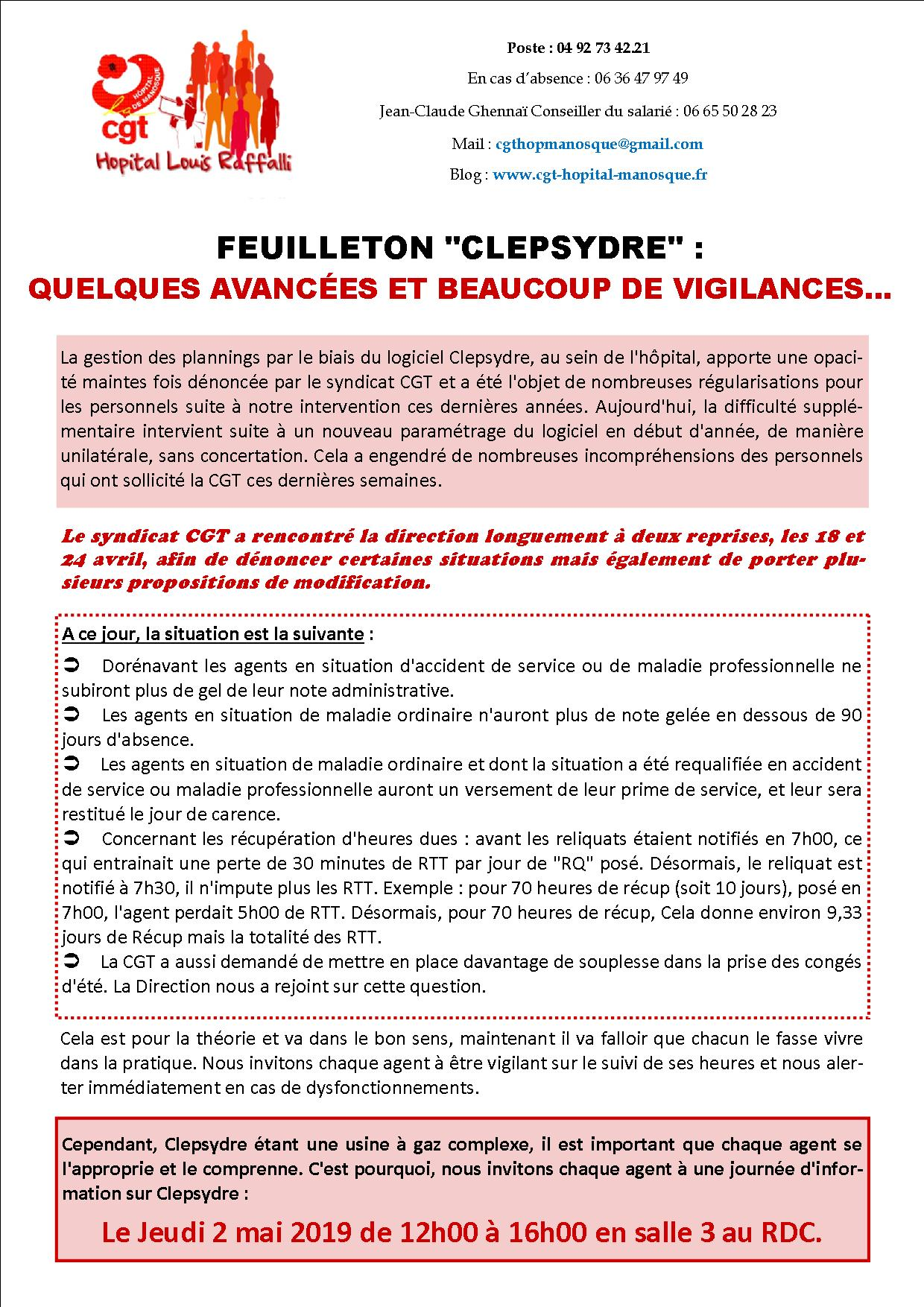 Tract Clepsydre planning hôpital avril 2019
