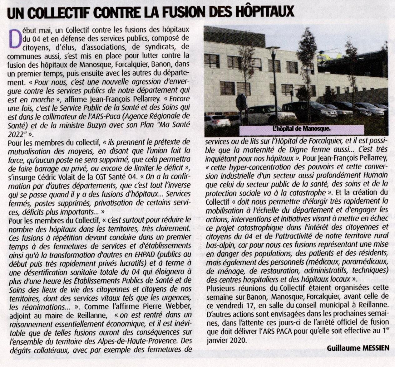 Article collectif contre les fusions d'hôpitaux