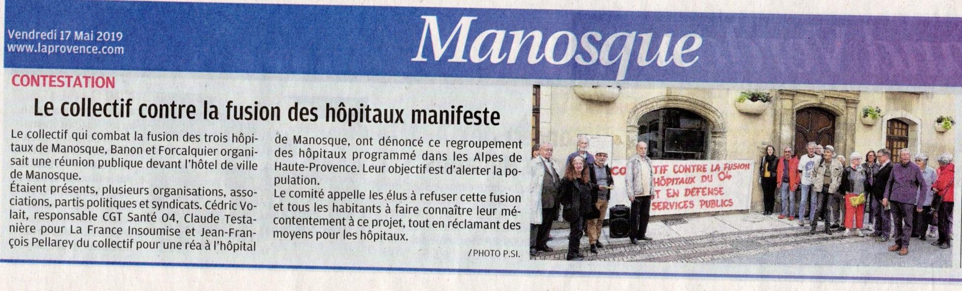 Débat fusion hôpitaux Manosque 15 mai 2019