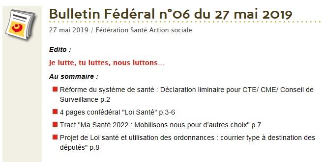 Sommaire Bulletin Fédéral CGT Santé