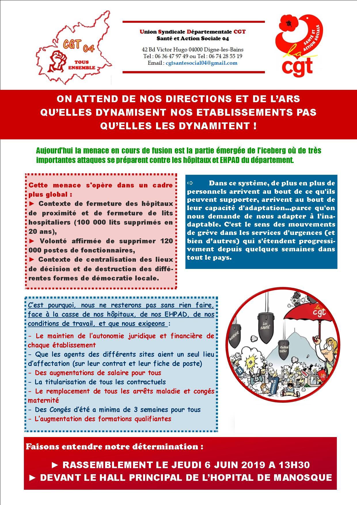 Tract fusion hôpital Manosque USD CGT Santé