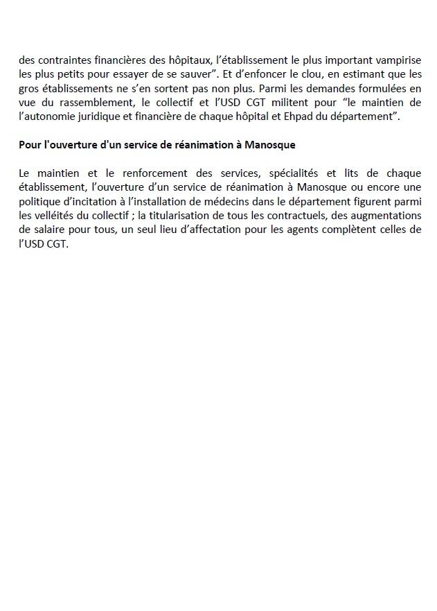 Article Le Dauphiné Rassemblement hôpital Manosque (2)