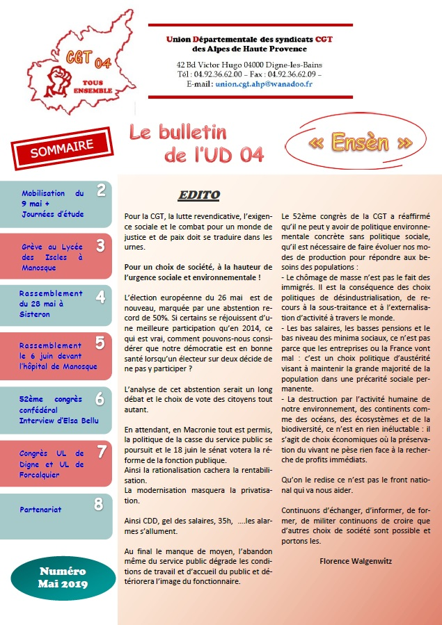 Sommaire journal UD CGT 04 mai 2019