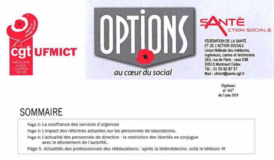 Options CGT UFMICT juin 2019