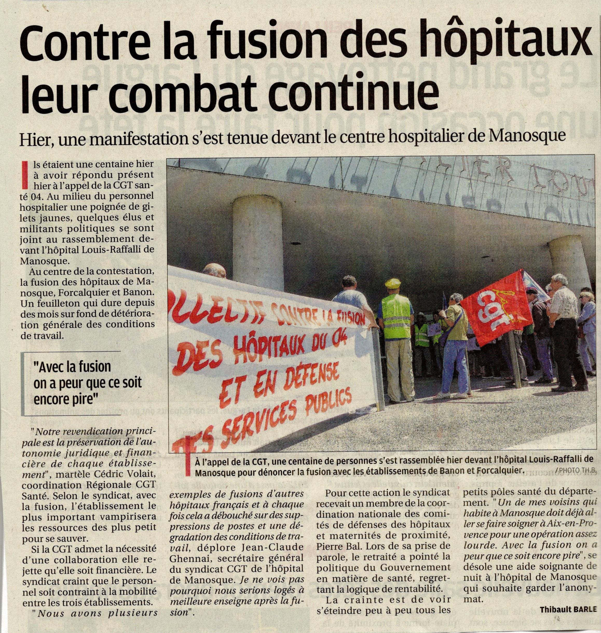 Article combat contre fusion des hôpitaux