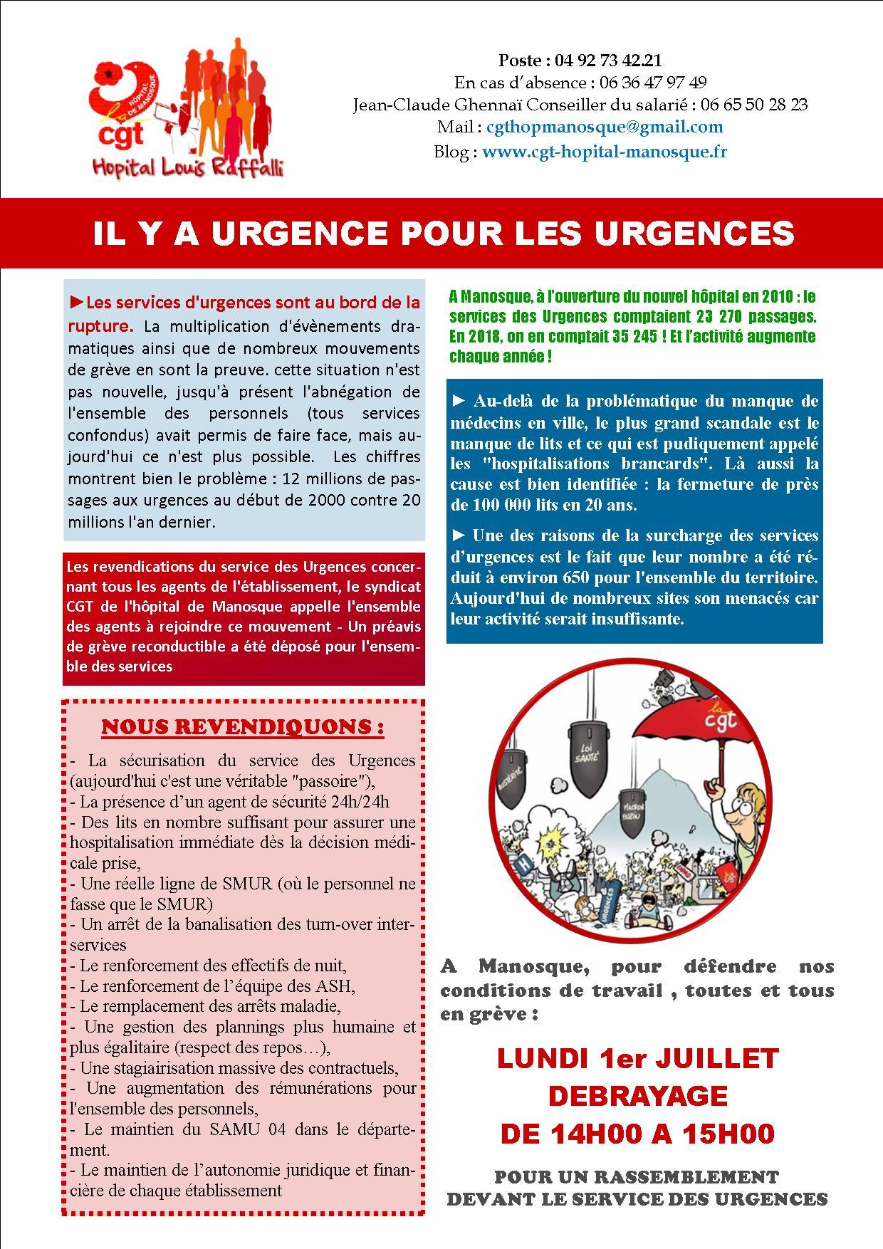 Tract 1 grève urgences hôpital Manosque