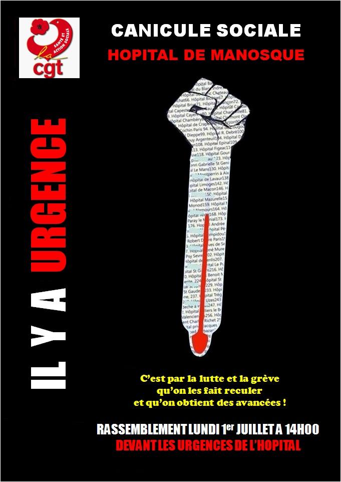 Affiche CGT Grève urgences hôpital Manosque