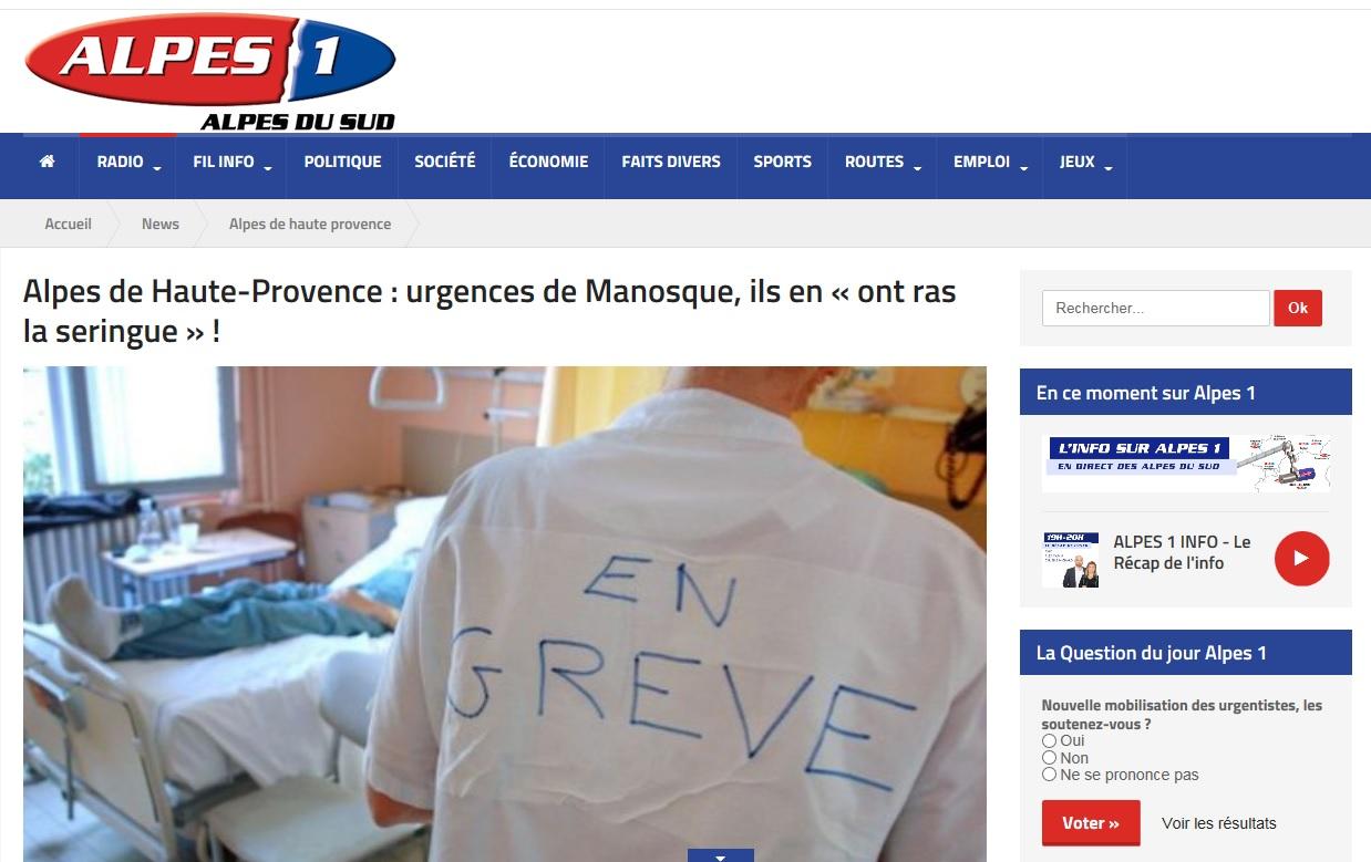 Radio Alpes 1 grève urgences Manosque