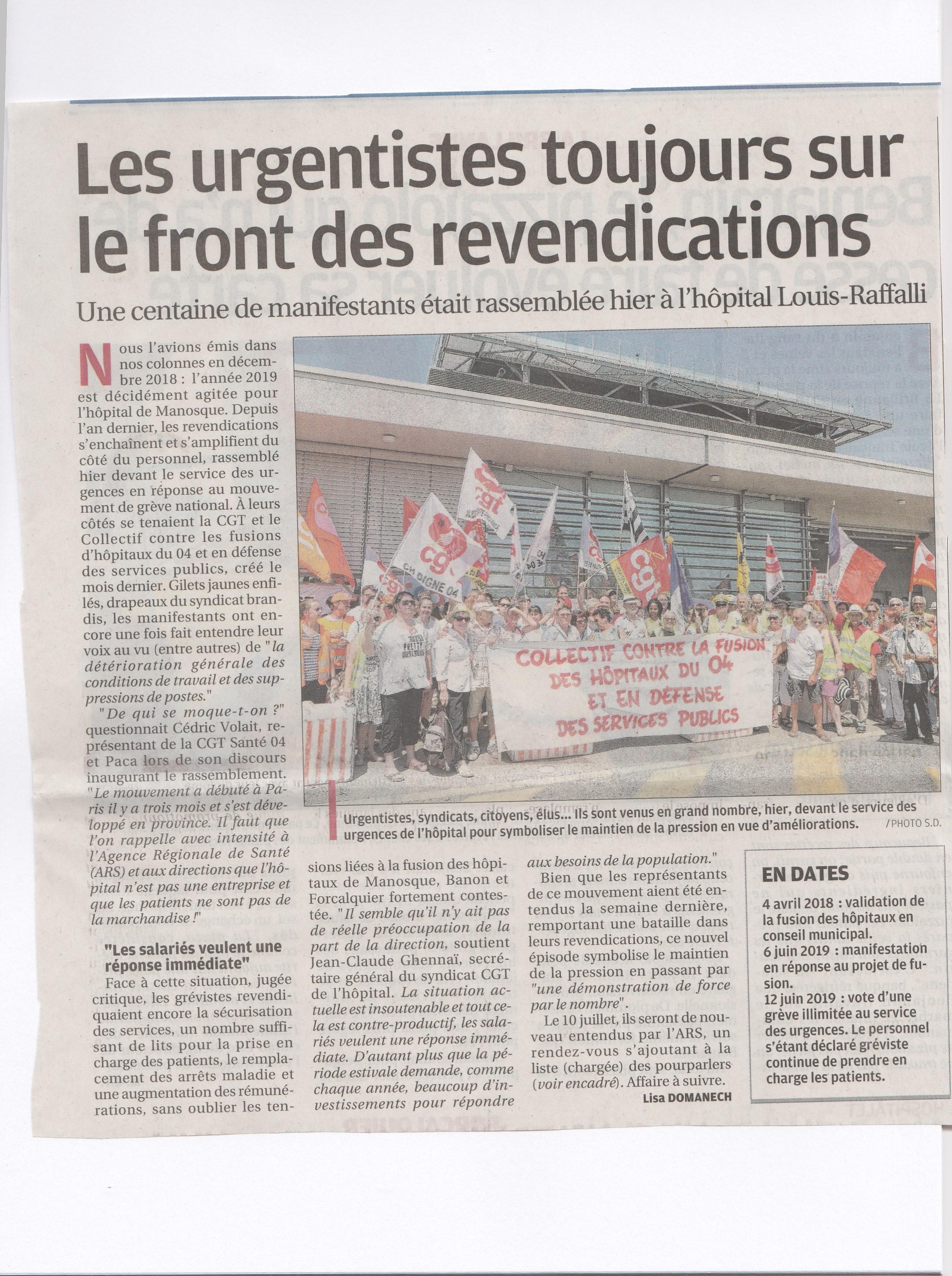 Article La Provence grève hôpital Manosque