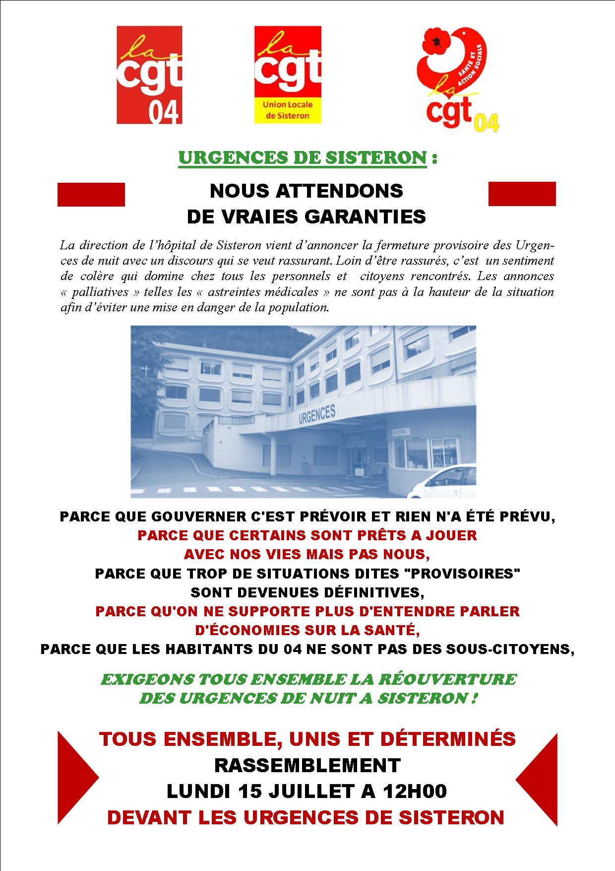Tract rassemblement fermeture urgences de Sisteron