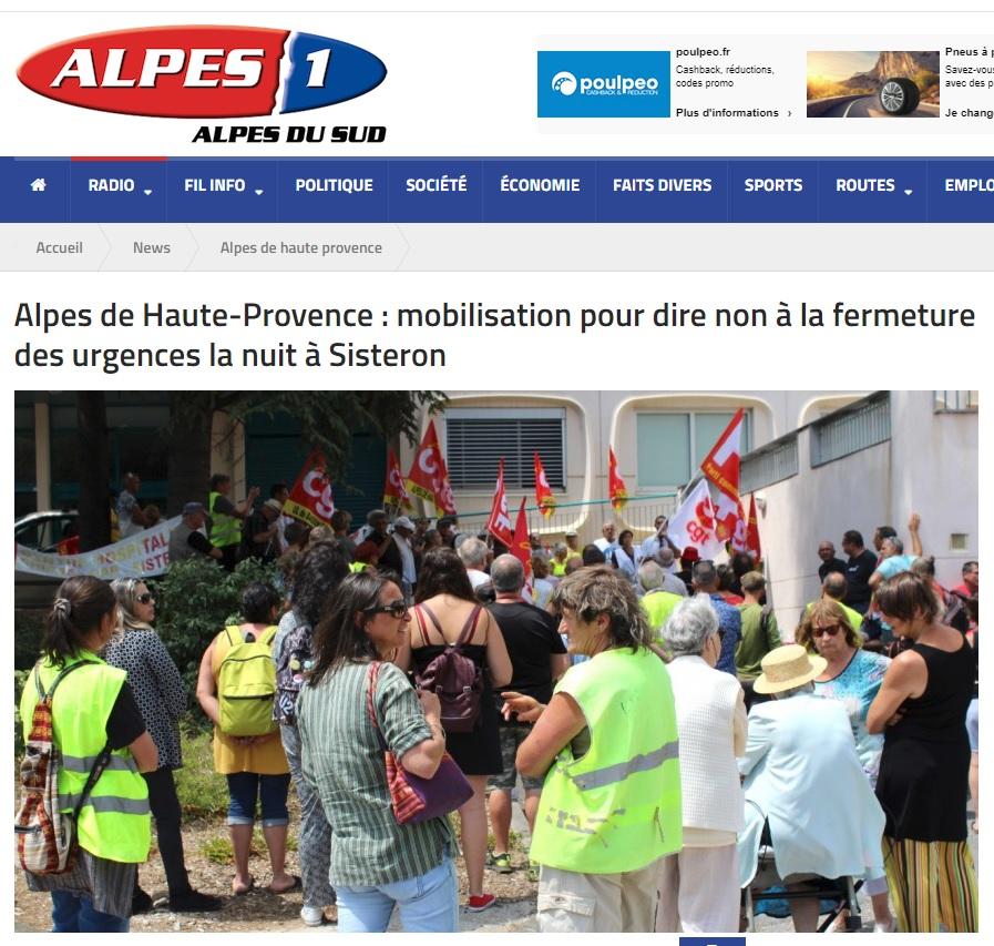 Radio Alpes 1 fermeture urgences Sisteron