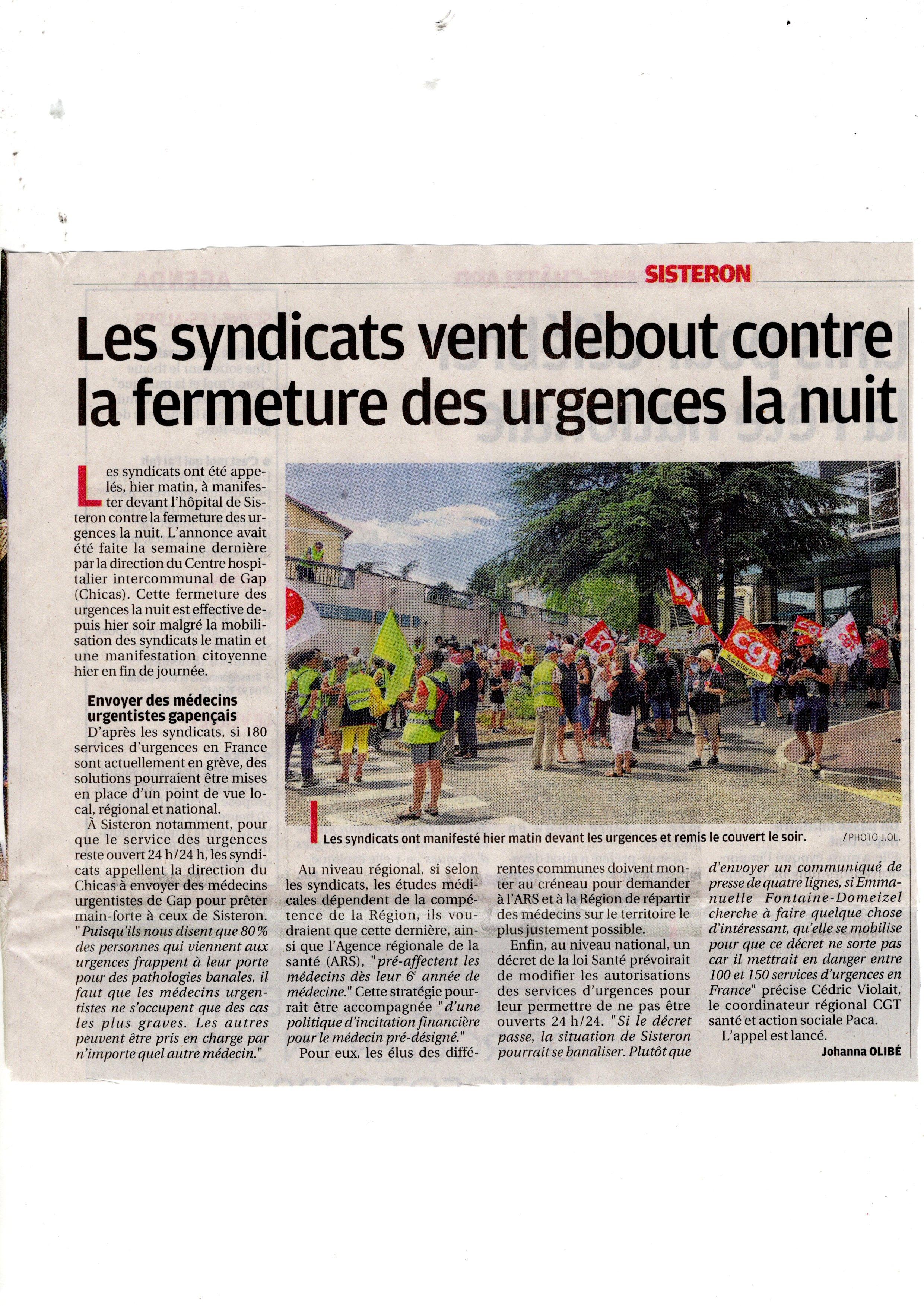 La Provence non à la fermeture des urgences de Sisteron