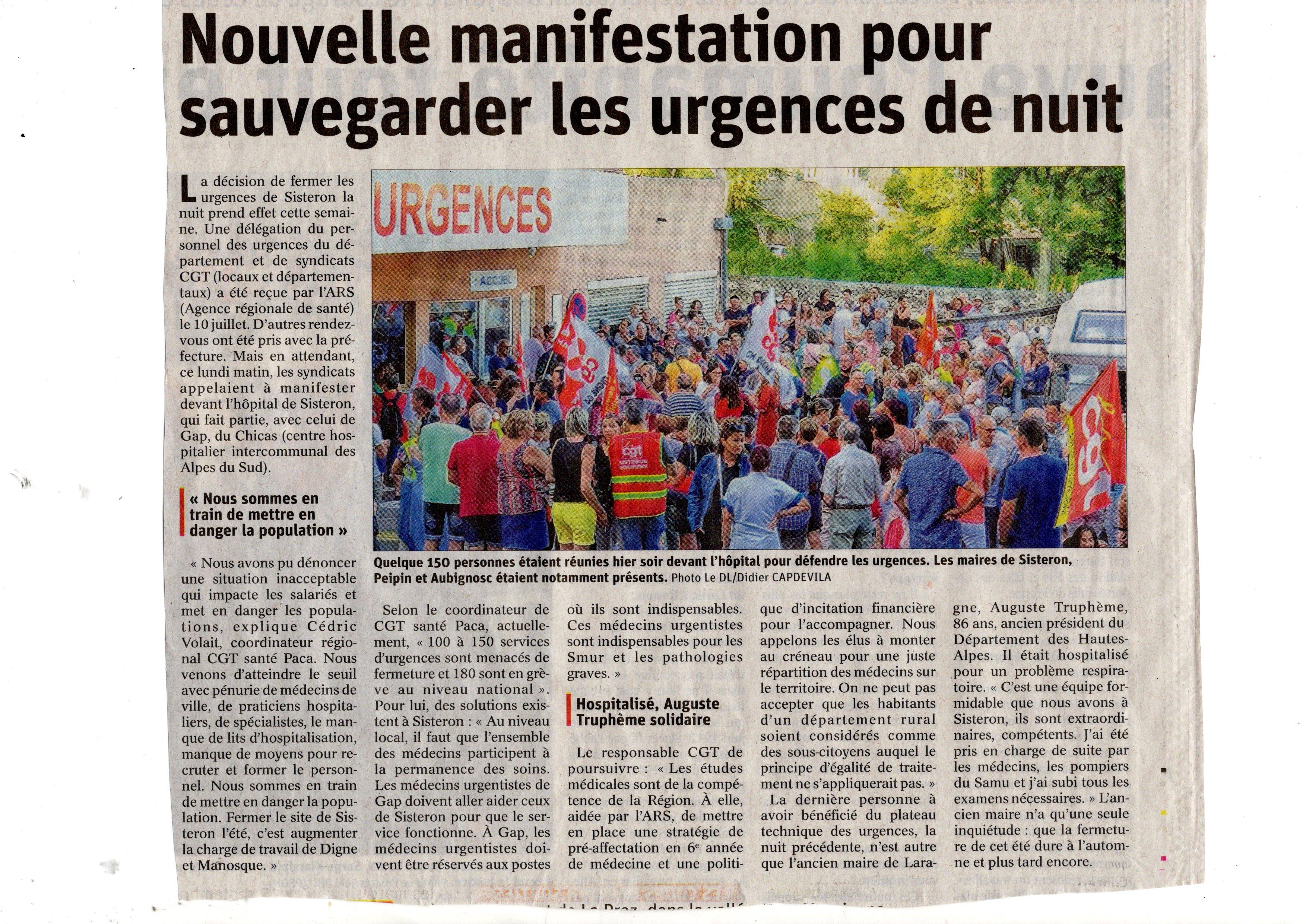 Le Dauphiné non à la fermeture des urgences de Sisteron