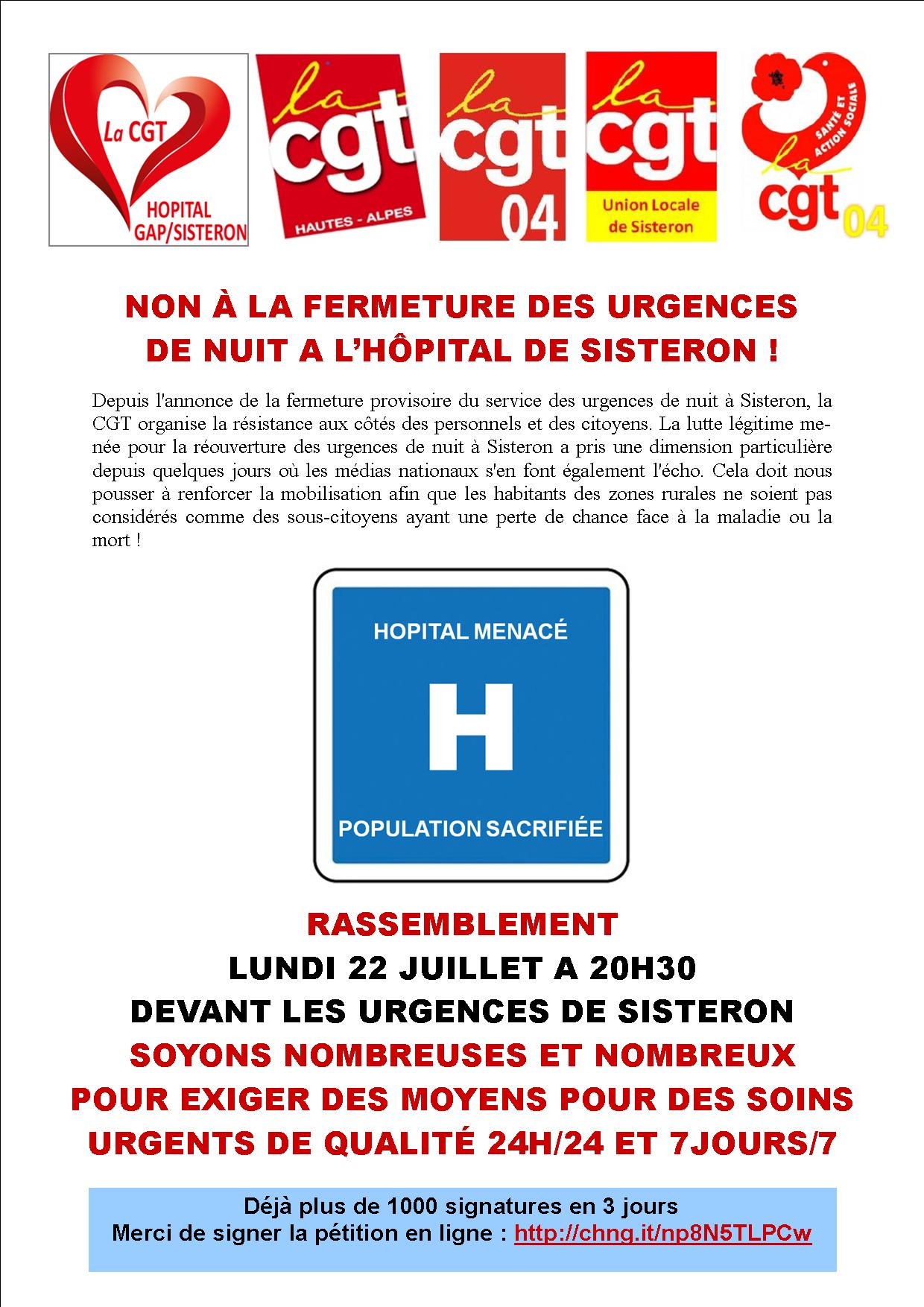 Tract fermeture urgences Sisteron 22 juillet VD