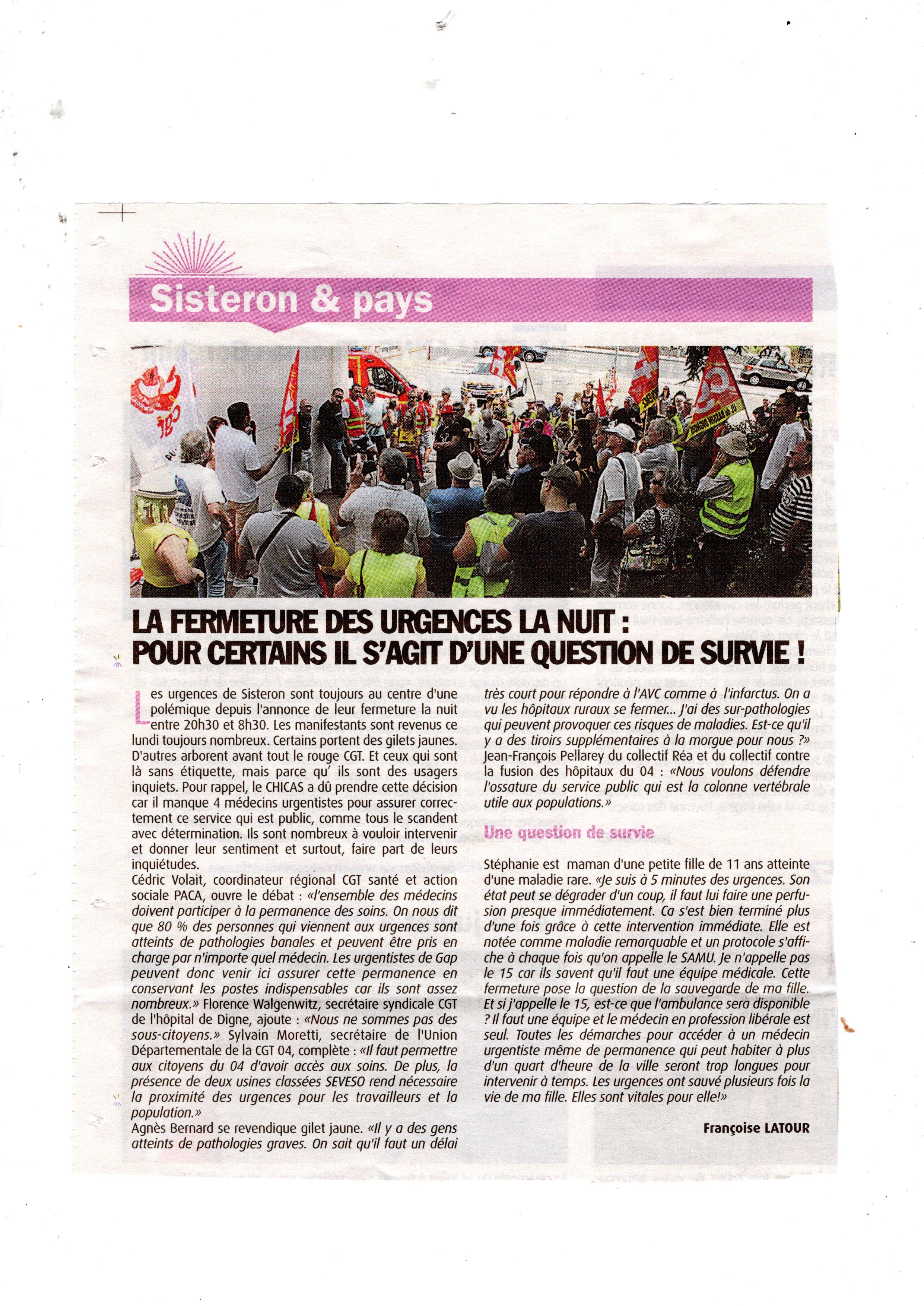 HPI Fermeture Urgences Sisteron du 19 juillet 2019