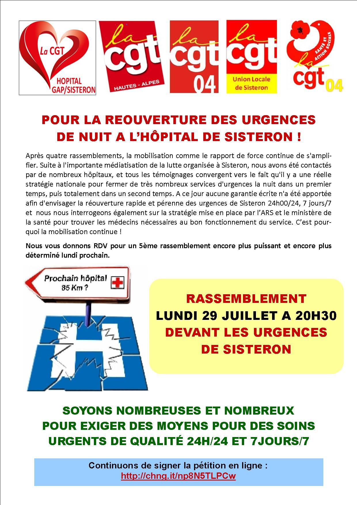 Tract fermeture urgences Sisteron rassemblement 29 juillet