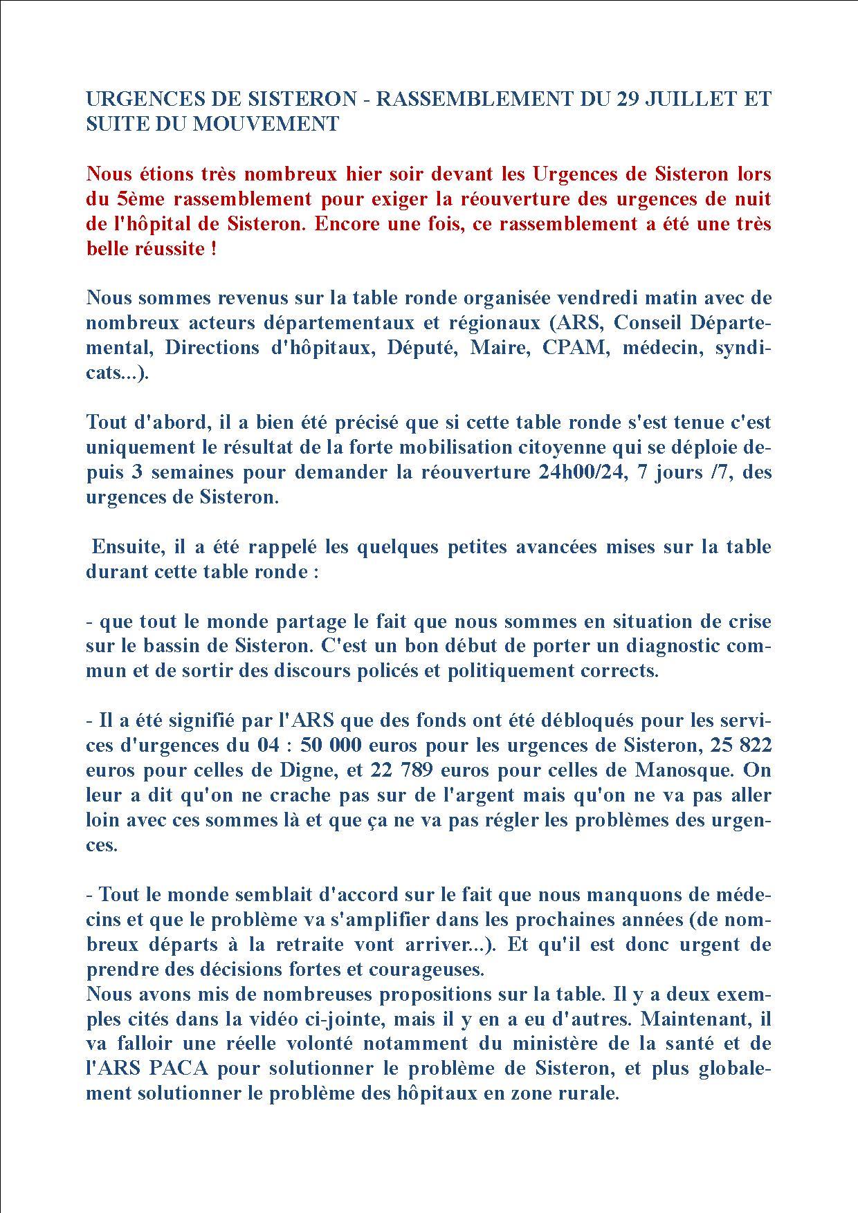 Urgences de Sisteron - Rassemblement du 29 juillet suites (1)