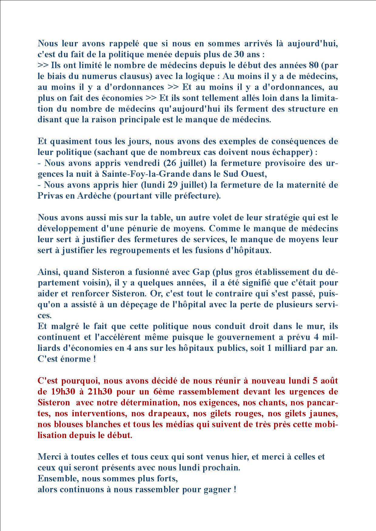 Urgences de Sisteron - Rassemblement du 29 juillet suites (2)