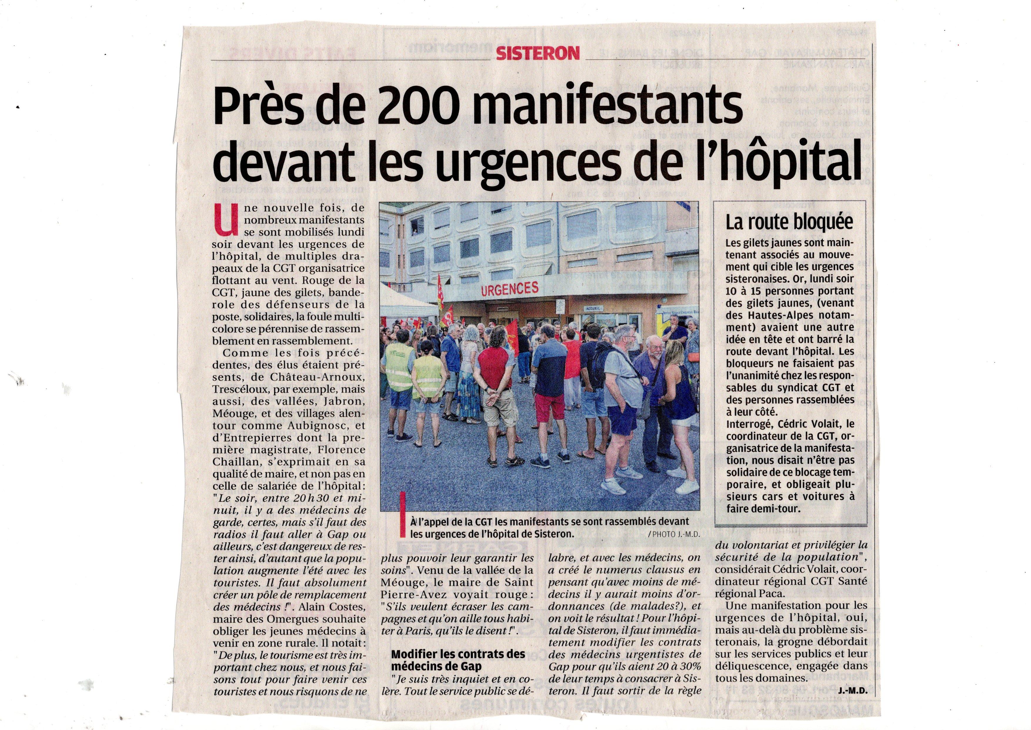 1148. Article La Provence du 31 juillet 2019