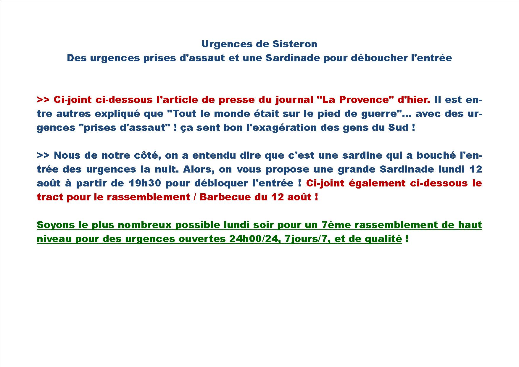 1153. Sardinade urgences Sisteron 12 août 2019
