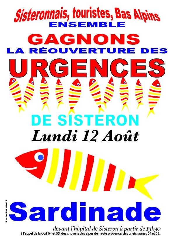 1153. Tract Sardinade urgences Sisteron 12 août 2019
