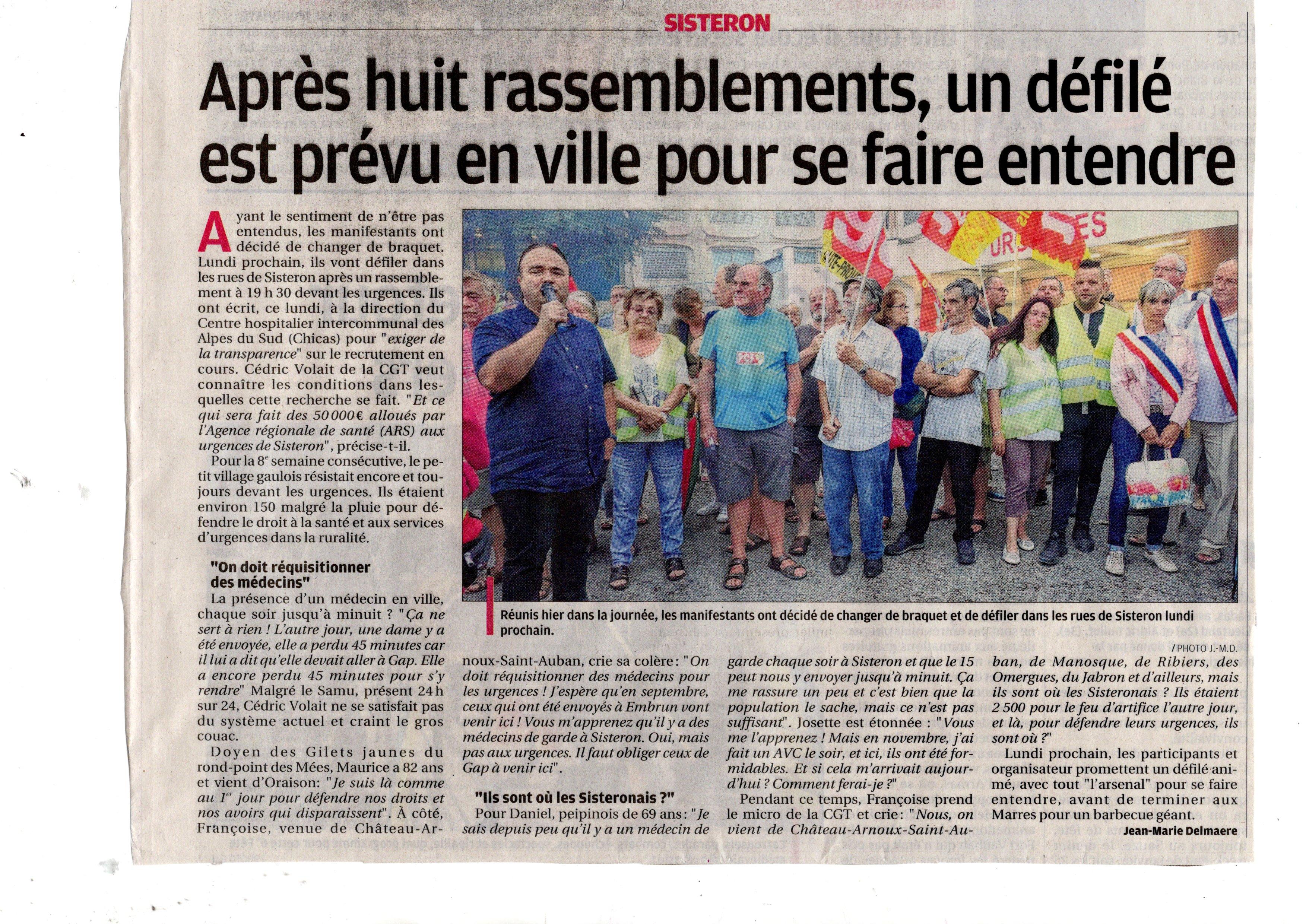 1157. Article La Provence du 21 août 2019 Urgences de Sisteron