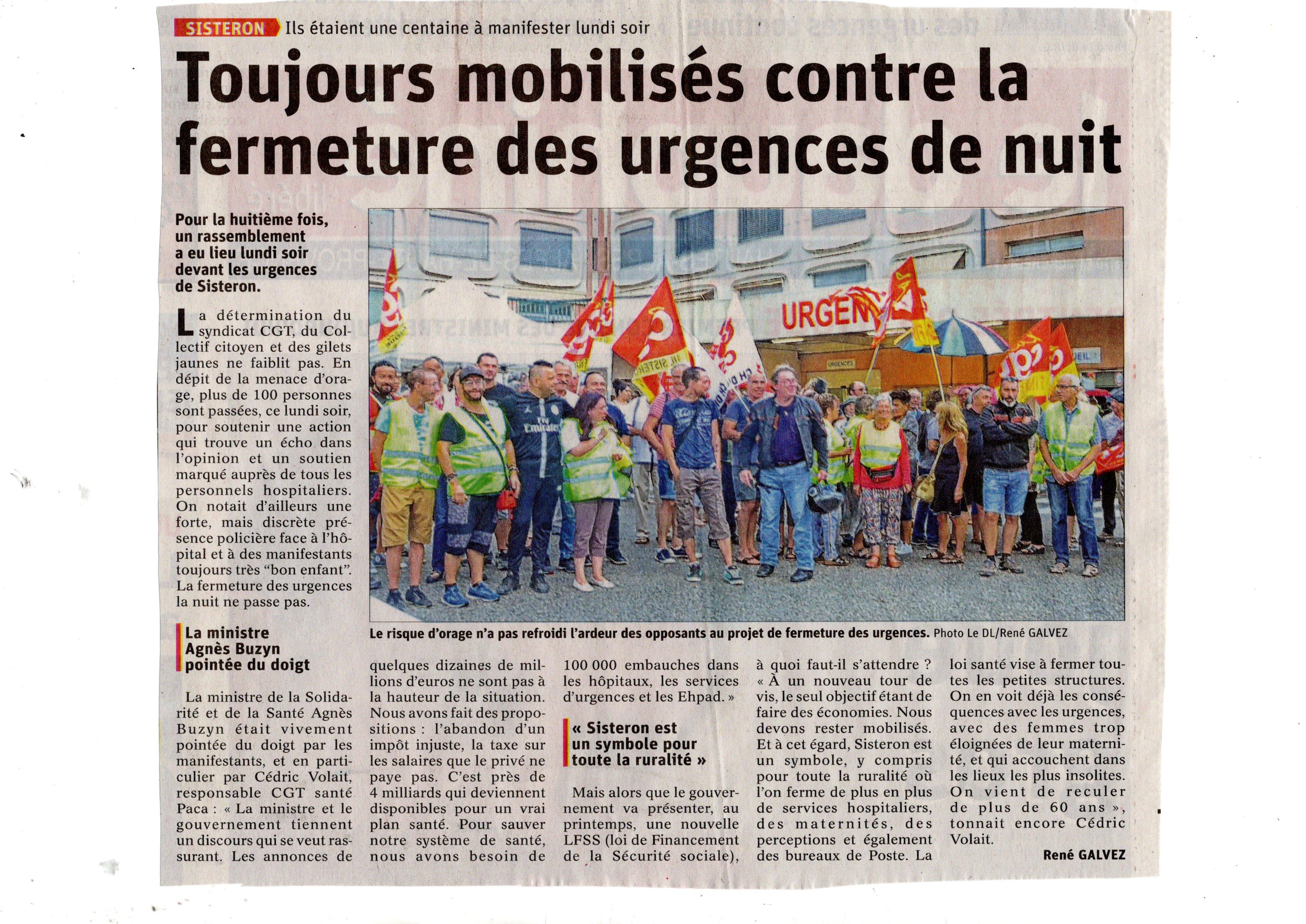 1157. Article Le Dauphiné du 21 août 2019 Urgences de Sisteron