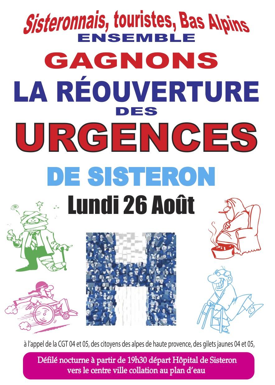1157. Tract pour le 26 août 2019 Urgences de Sisteron
