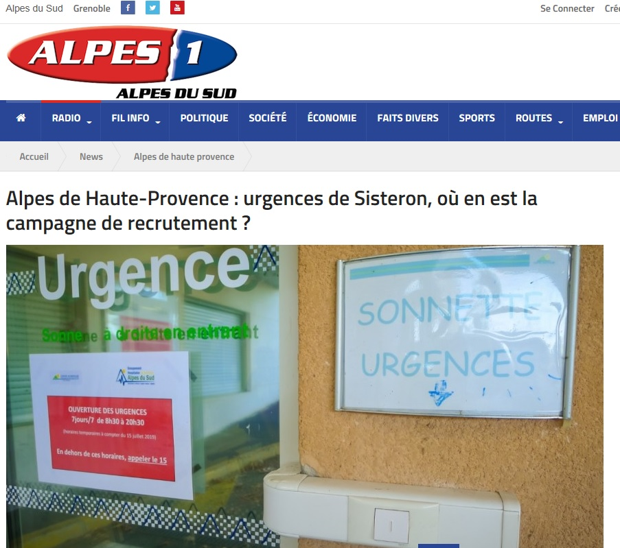 Urgences de Sisteron Radio Alpes 1