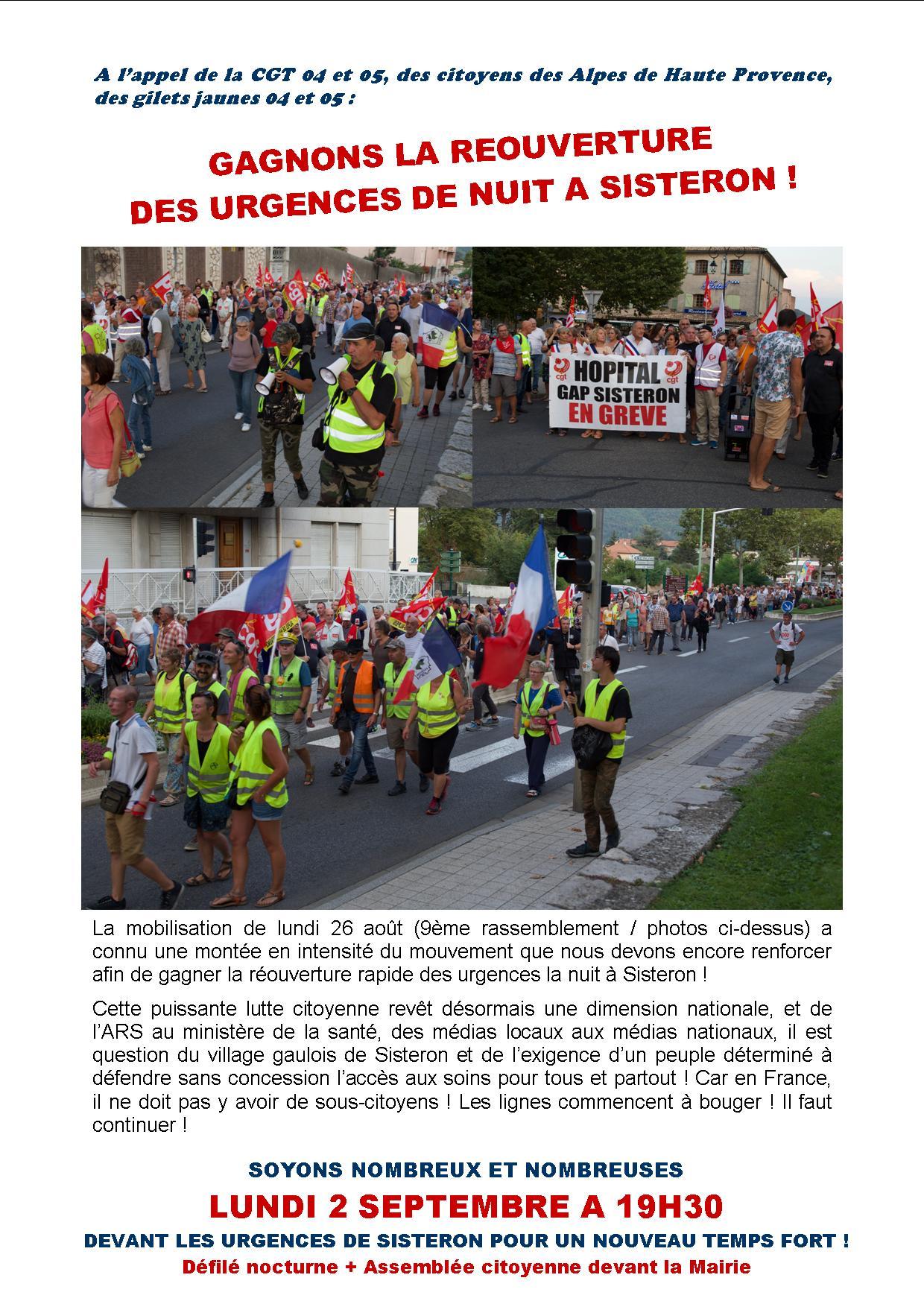 1160. Tract grève urgences Sisteron pour le 2 septembre 2019