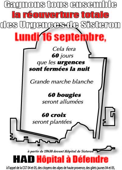 Tract pour le 16 septembre 2019 urgences Sisteron