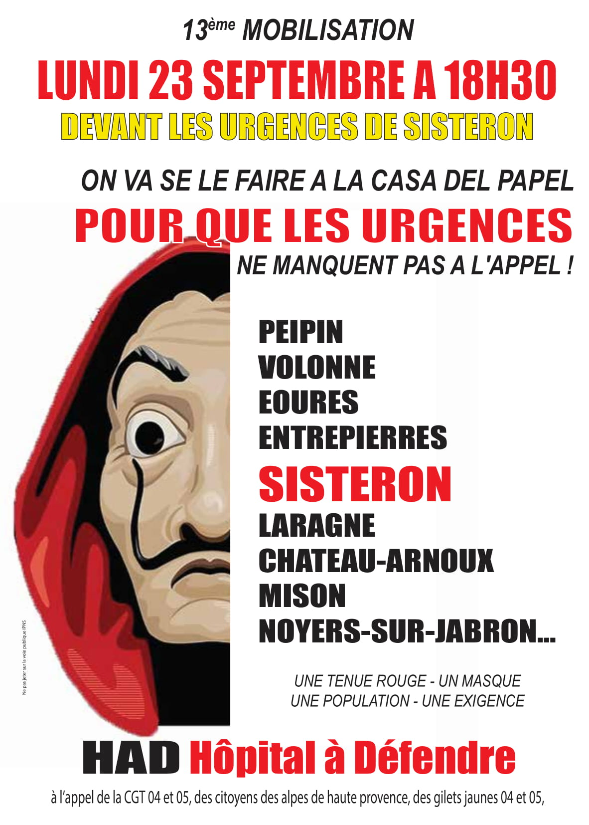 Tract Casa del Papel Urgences Sisteron
