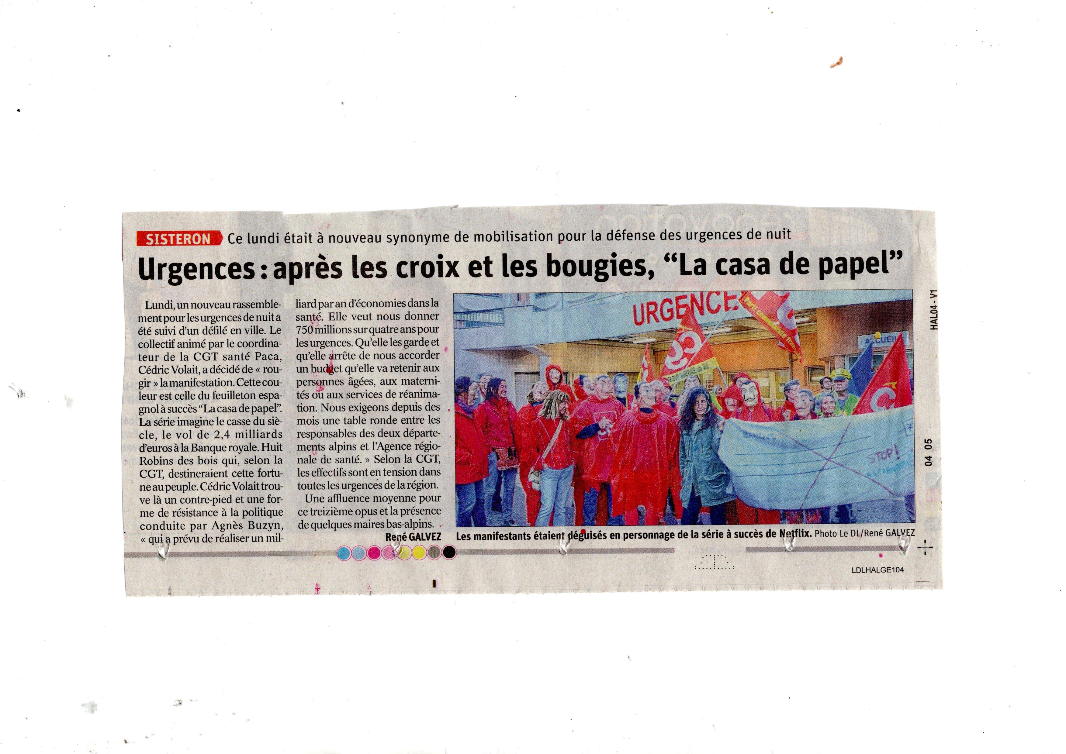 Article Le Dauphiné Urgences Sisteron Casa de Papel