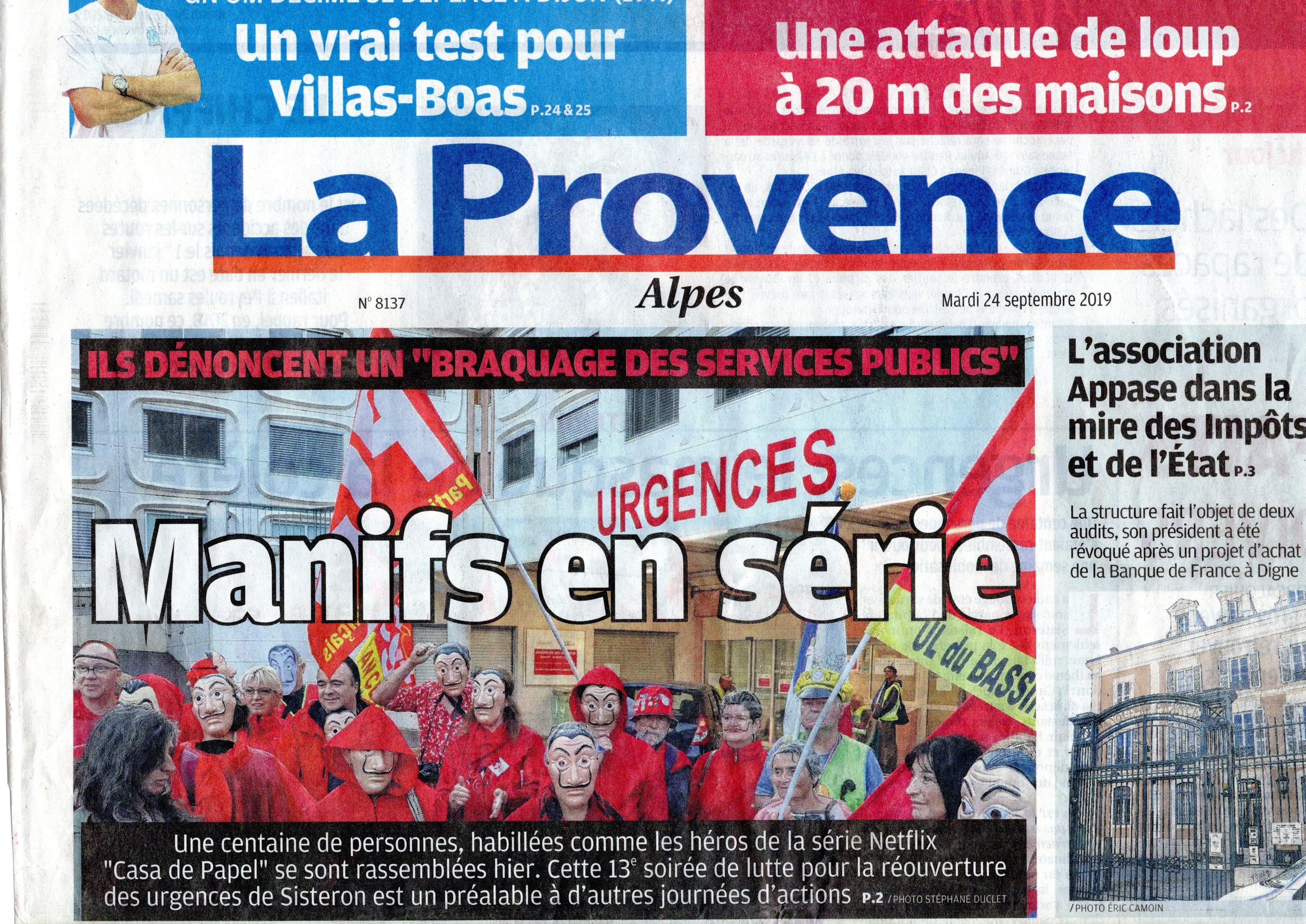 La Provence page 1 Urgences Sisteron Casa de Papel