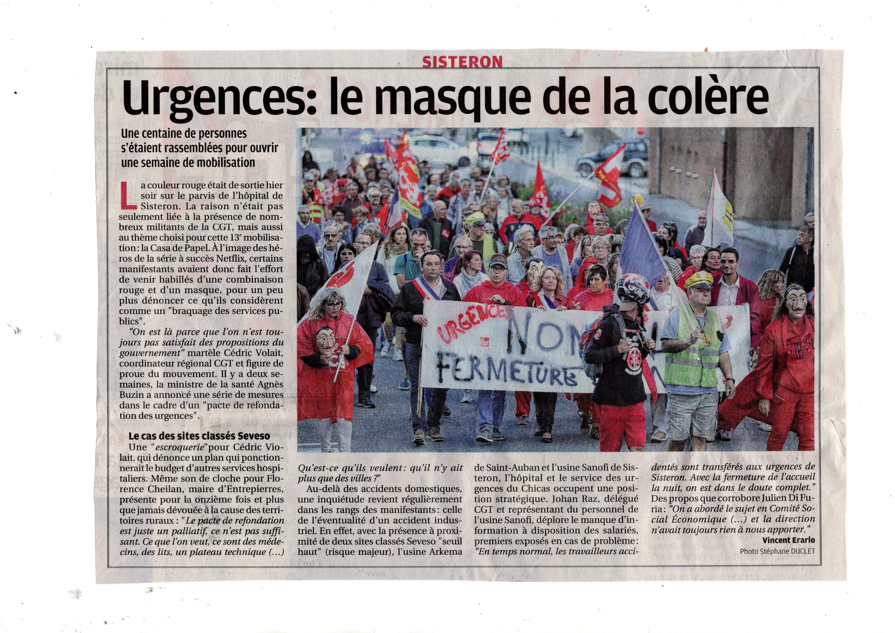 La Provence page 2 Urgences Sisteron Casa de Papel