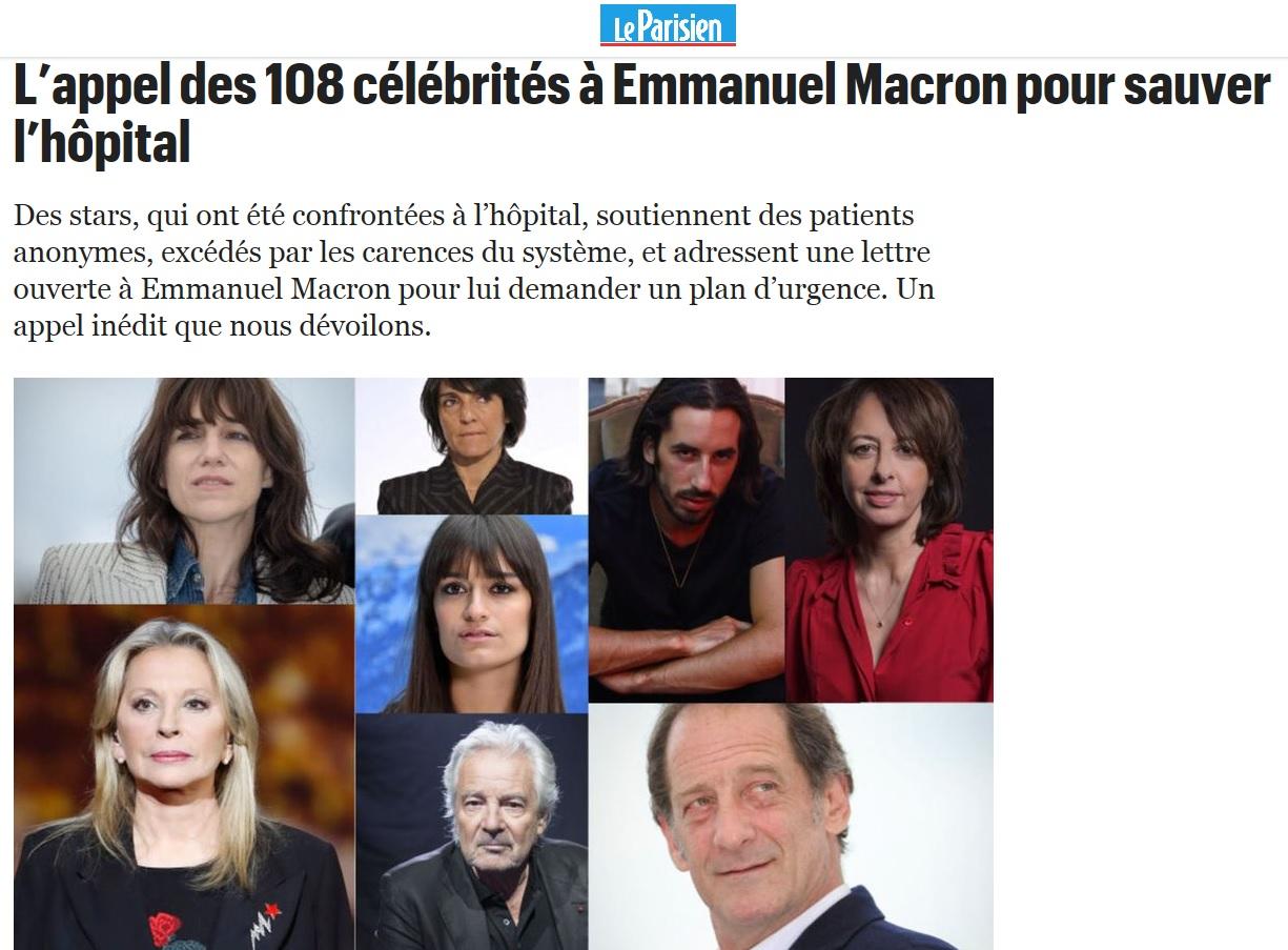 L'appel des 108 célébrités pour sauver l'hôpital