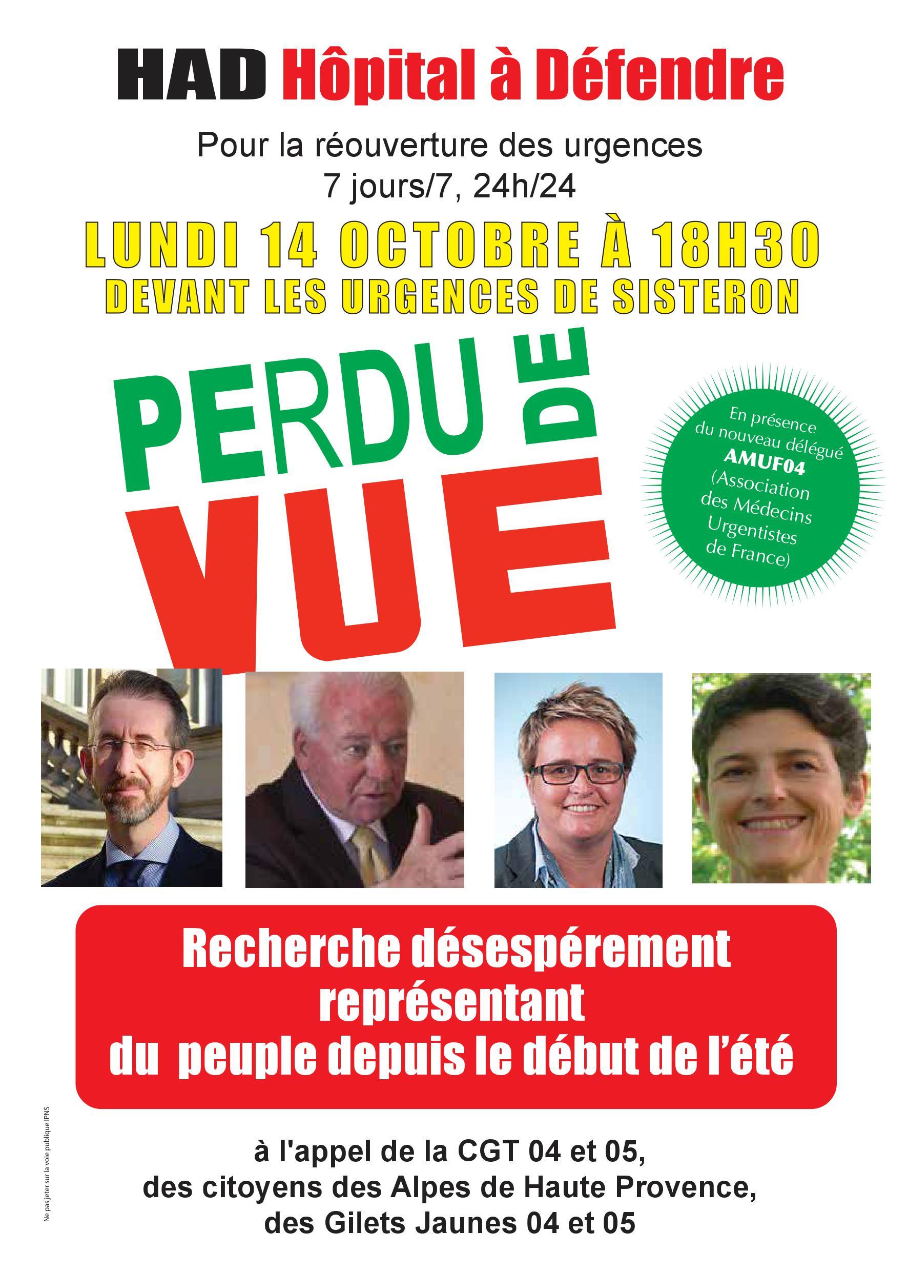 Tract pour le 14 octobre 2019 urgences de Sisteron