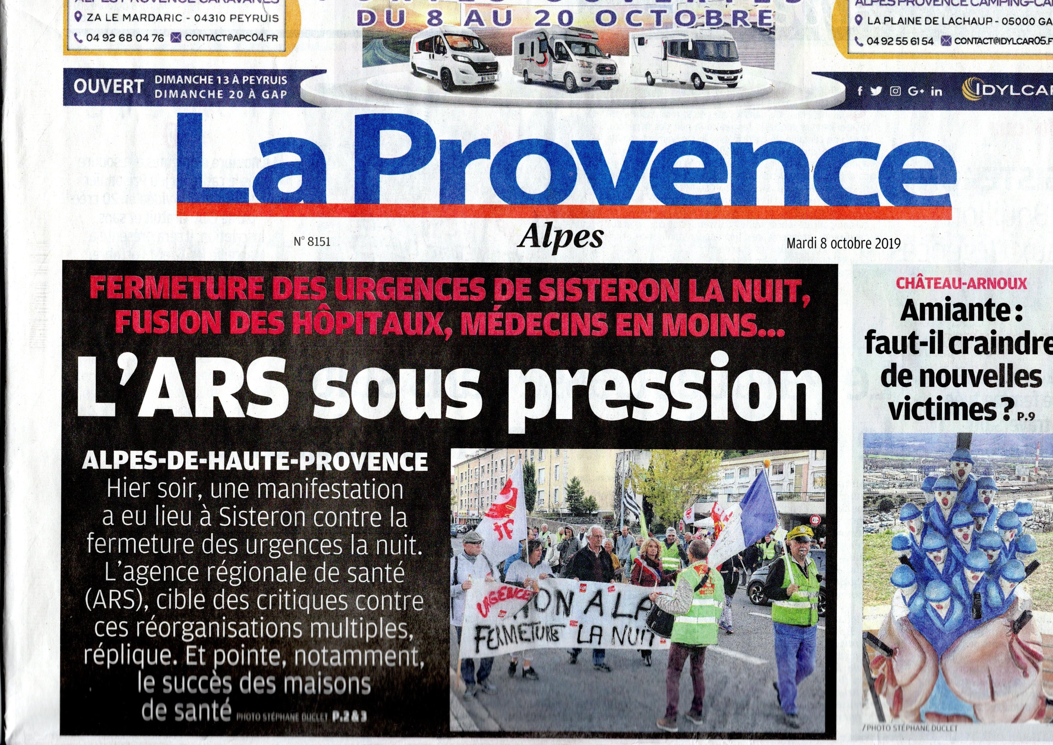 Une La Provence du 8 octobre 2019