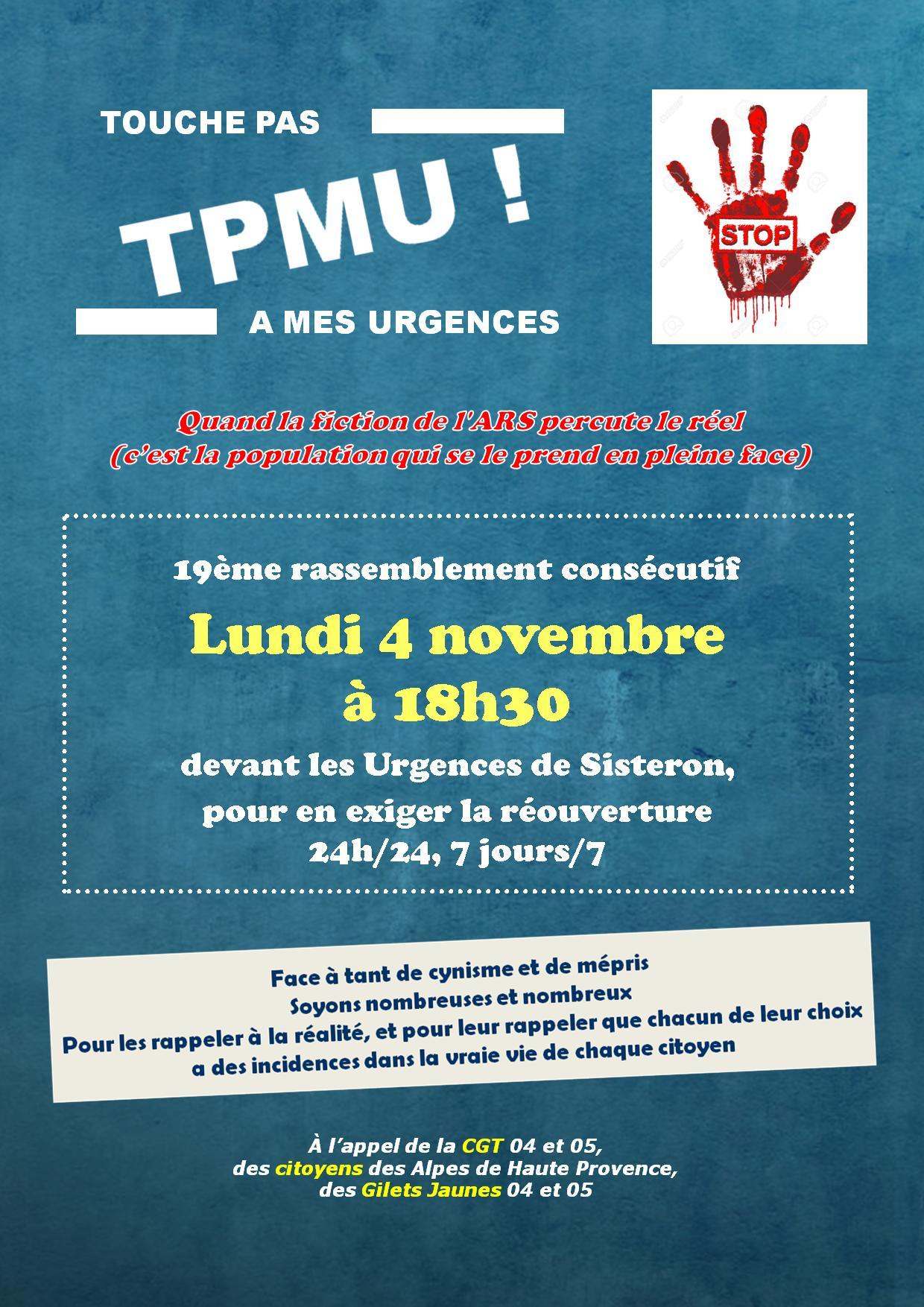 Tract Urgences Sisteron pour le 4 novembre 2019