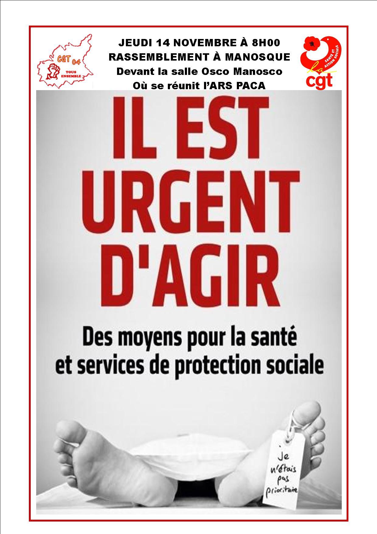 Affiche CGT Santé Manosque 14 novembre 2019