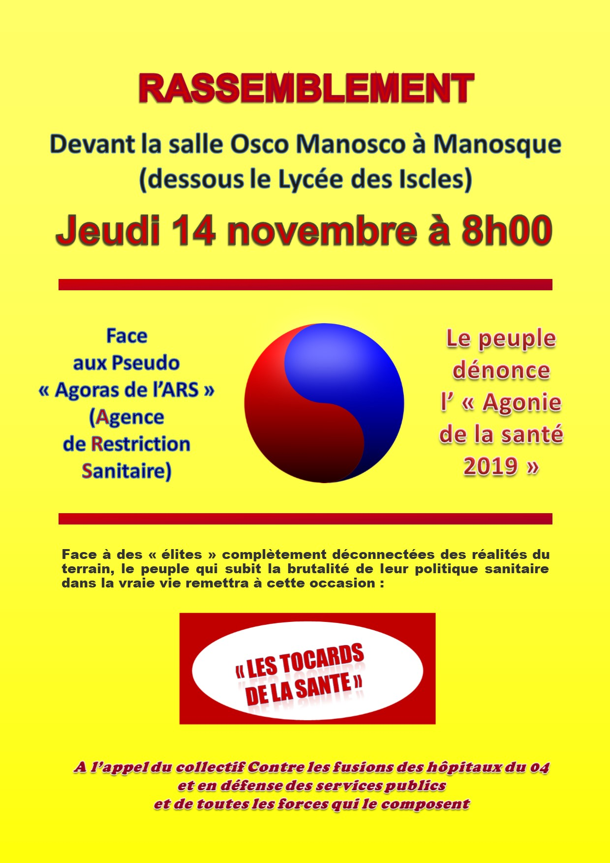 Affiche Collectif services publics Manosque 14 novembre 2019
