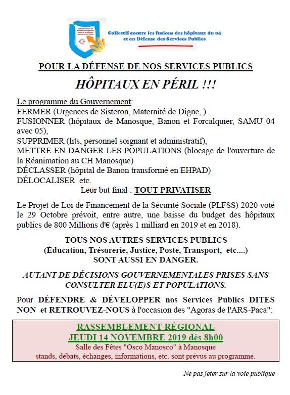 Tract collectif ARS santé Manosque 14 novembre 2019
