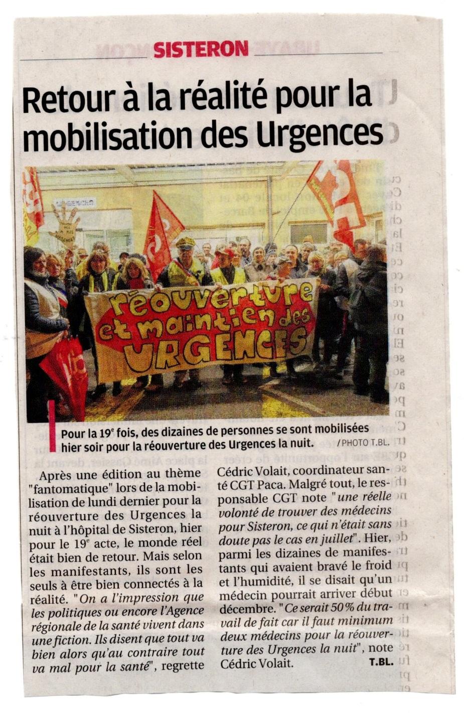 Article La Provence du 5 novembre 2019
