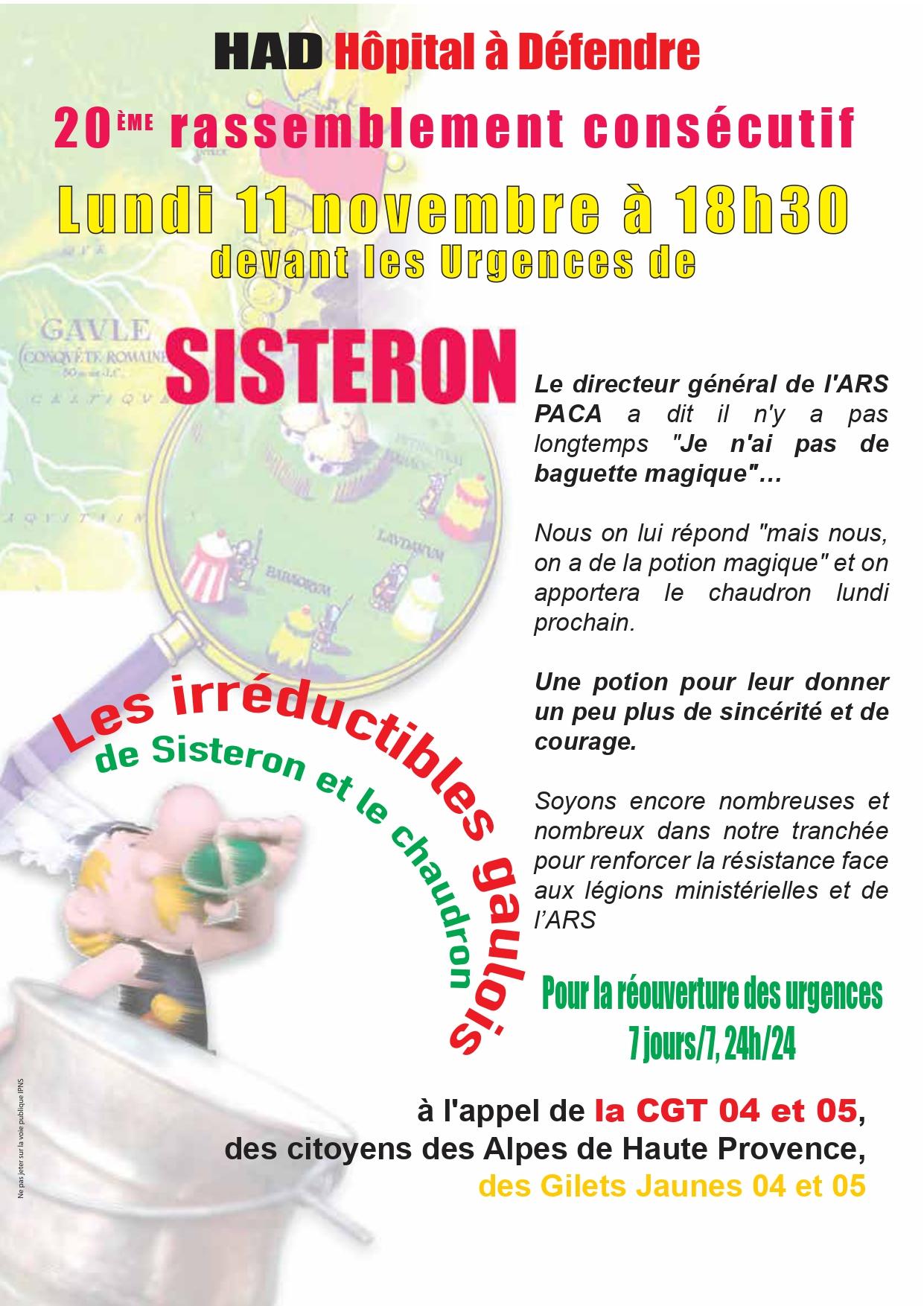 Tract Urgences Sisteron pour le 11 novembre 2019