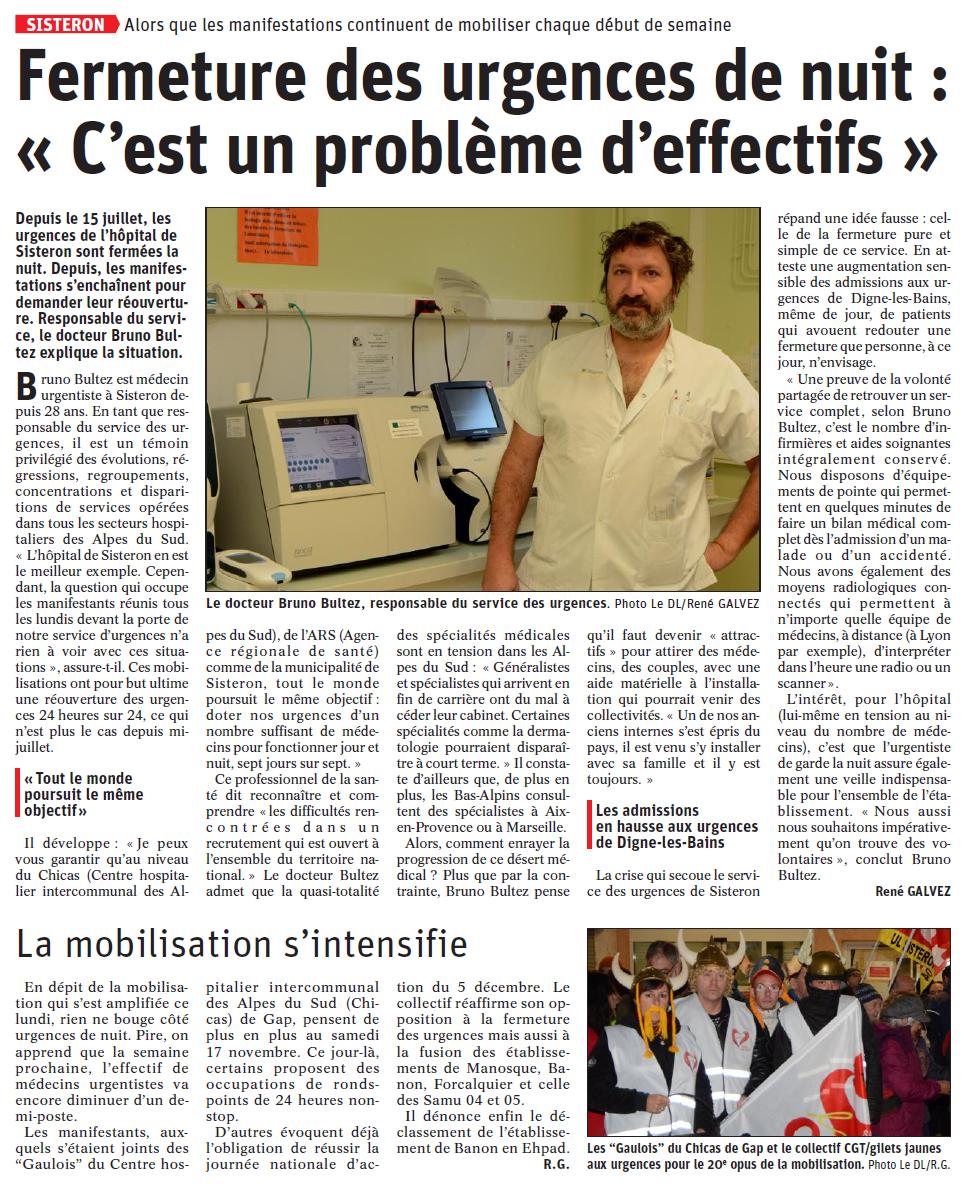 1190. Article La Dauphiné du 14 novembre 2019