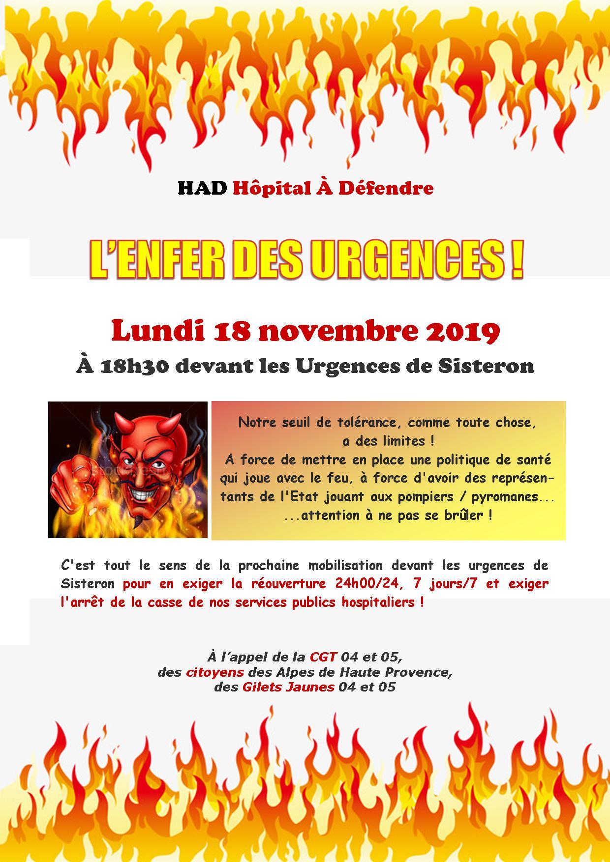 Tract Urgences Sisteron pour le 18 novembre 2019