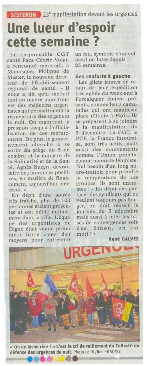 Article Le Dauphiné du 20 novembre 2019