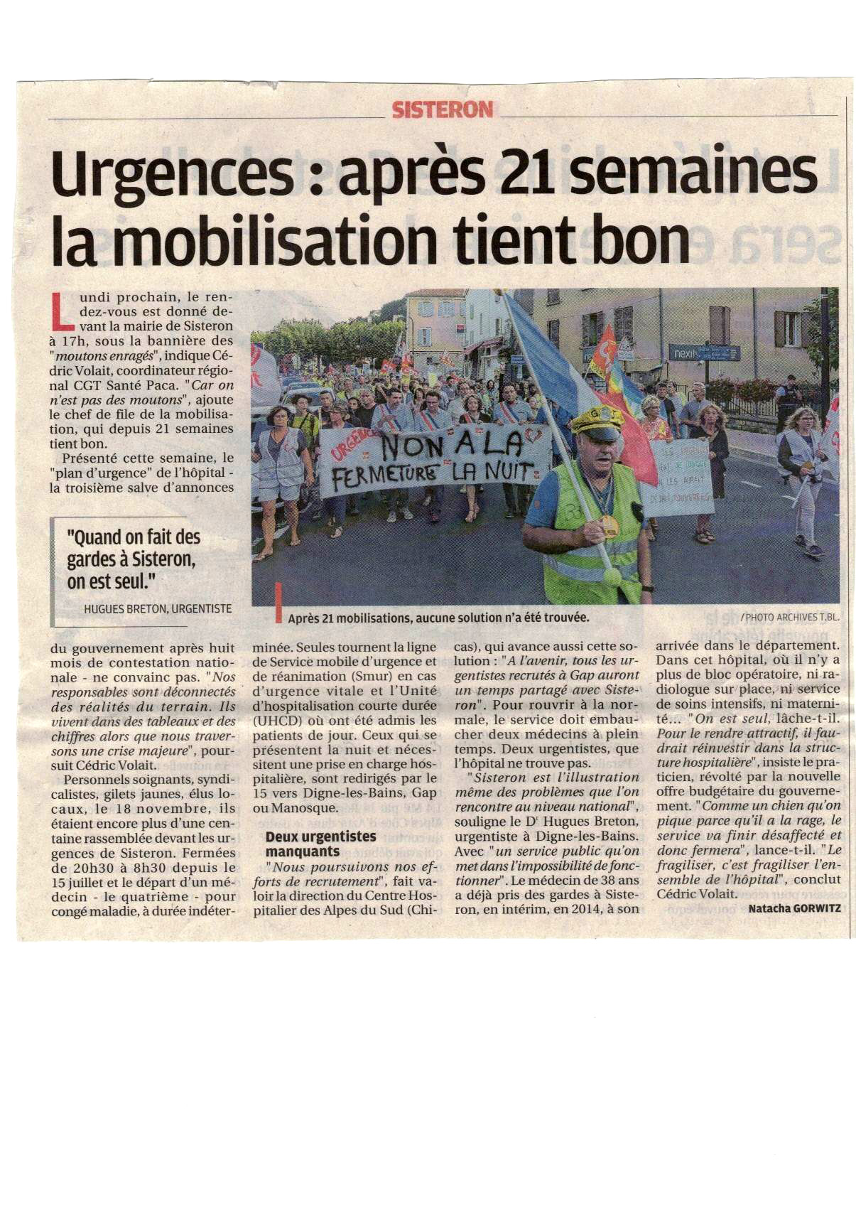 Article Urgences Sisteron du 23 novembre 2019